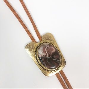 VINTAGE l Bolo Tie Gold Metal With Marbled Stone